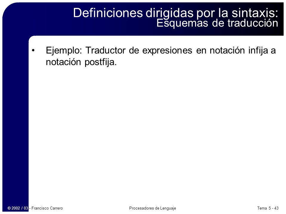 Tema 5 - 43Procesadores de Lenguaje© 2002 / 03 - Francisco Carrero Definiciones dirigidas por la sintaxis: Esquemas de traducción Ejemplo: Traductor de expresiones en notación infija a notación postfija.