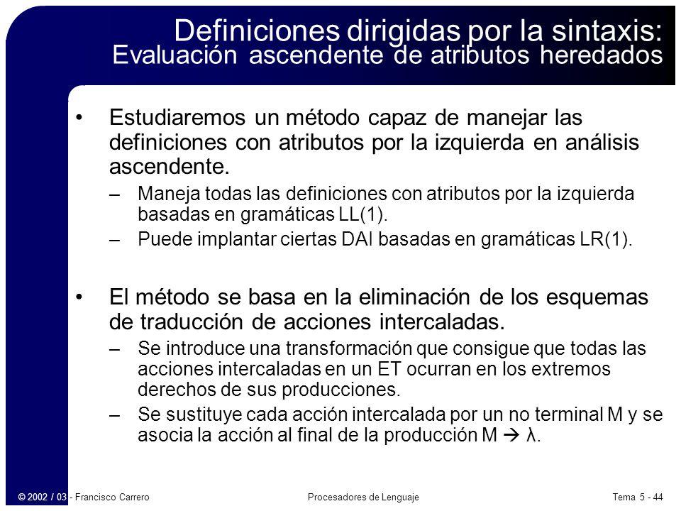 Tema 5 - 44Procesadores de Lenguaje© 2002 / 03 - Francisco Carrero Definiciones dirigidas por la sintaxis: Evaluación ascendente de atributos heredados Estudiaremos un método capaz de manejar las definiciones con atributos por la izquierda en análisis ascendente.