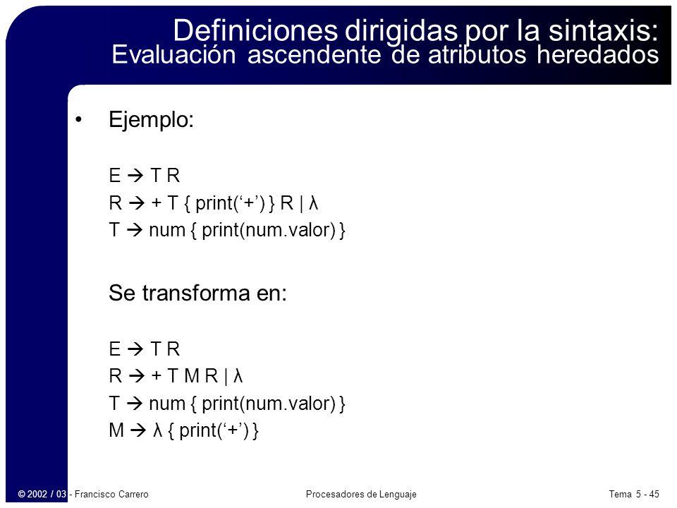 Tema 5 - 45Procesadores de Lenguaje© 2002 / 03 - Francisco Carrero Definiciones dirigidas por la sintaxis: Evaluación ascendente de atributos heredados Ejemplo: E T R R + T { print(+) } R | λ T num { print(num.valor) } Se transforma en: E T R R + T M R | λ T num { print(num.valor) } M λ { print(+) }