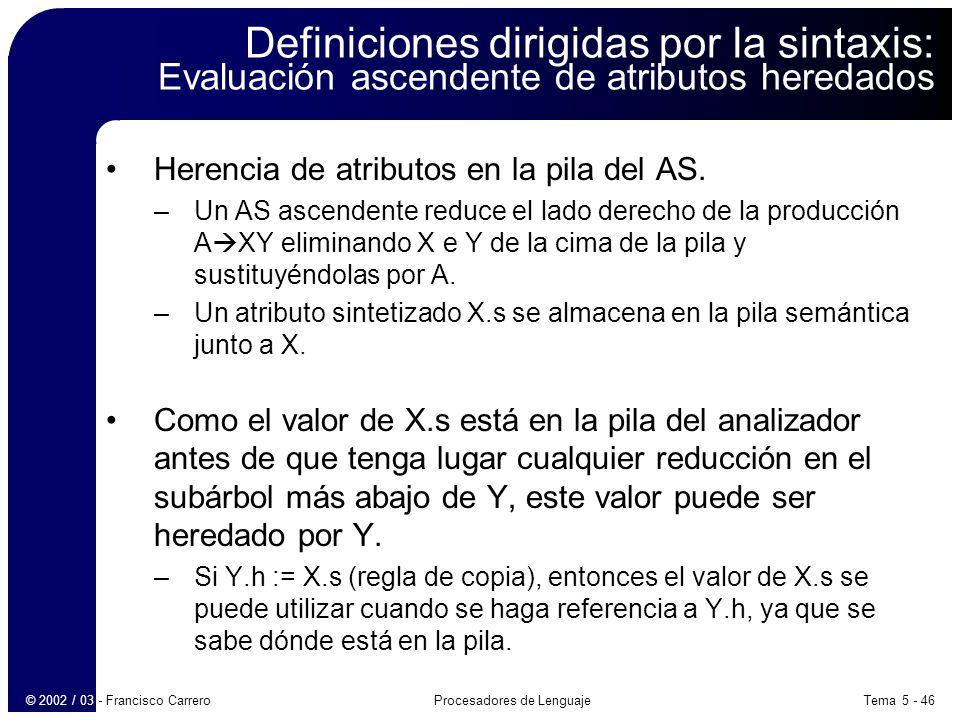 Tema 5 - 46Procesadores de Lenguaje© 2002 / 03 - Francisco Carrero Definiciones dirigidas por la sintaxis: Evaluación ascendente de atributos heredados Herencia de atributos en la pila del AS.