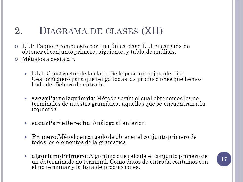 2.D IAGRAMA DE CLASES (XII) LL1: Paquete compuesto por una única clase LL1 encargada de obtener el conjunto primero, siguiente, y tabla de análisis. M