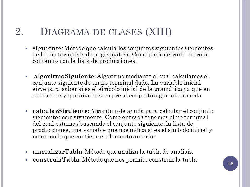 2.D IAGRAMA DE CLASES (XIII) siguiente : Método que calcula los conjuntos siguientes siguientes de los no terminals de la gramatica, Como parámetro de