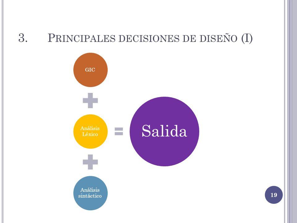 3. P RINCIPALES DECISIONES DE DISEÑO (I) GIC Análisis Léxico Análisis sintáctico Salida 19