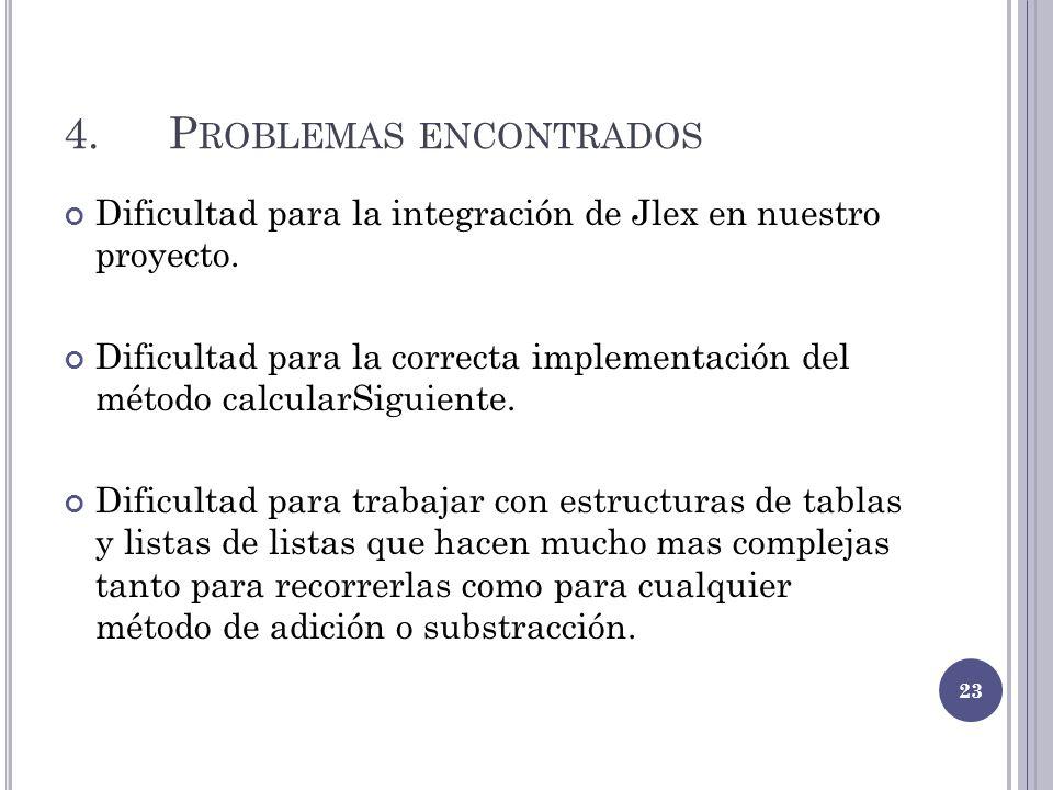 4.P ROBLEMAS ENCONTRADOS Dificultad para la integración de Jlex en nuestro proyecto. Dificultad para la correcta implementación del método calcularSig