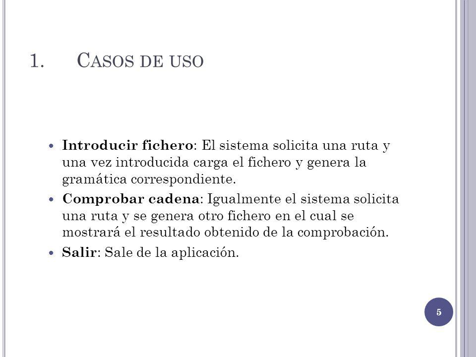 1.C ASOS DE USO Introducir fichero : El sistema solicita una ruta y una vez introducida carga el fichero y genera la gramática correspondiente. Compro