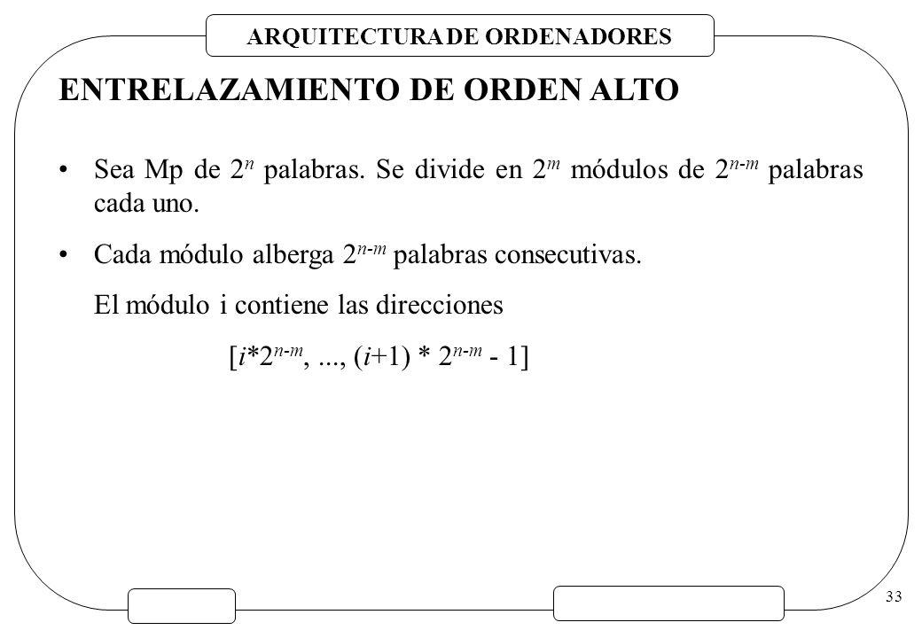 ARQUITECTURA DE ORDENADORES 33 ENTRELAZAMIENTO DE ORDEN ALTO Sea Mp de 2 n palabras. Se divide en 2 m módulos de 2 n-m palabras cada uno. Cada módulo