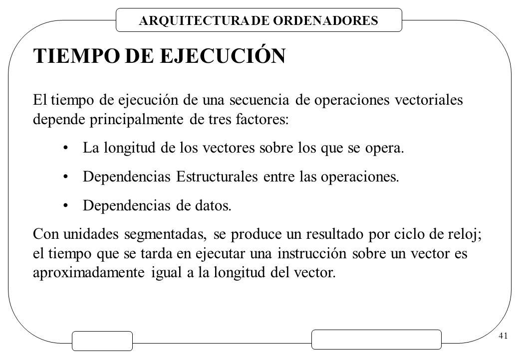 ARQUITECTURA DE ORDENADORES 41 TIEMPO DE EJECUCIÓN El tiempo de ejecución de una secuencia de operaciones vectoriales depende principalmente de tres f