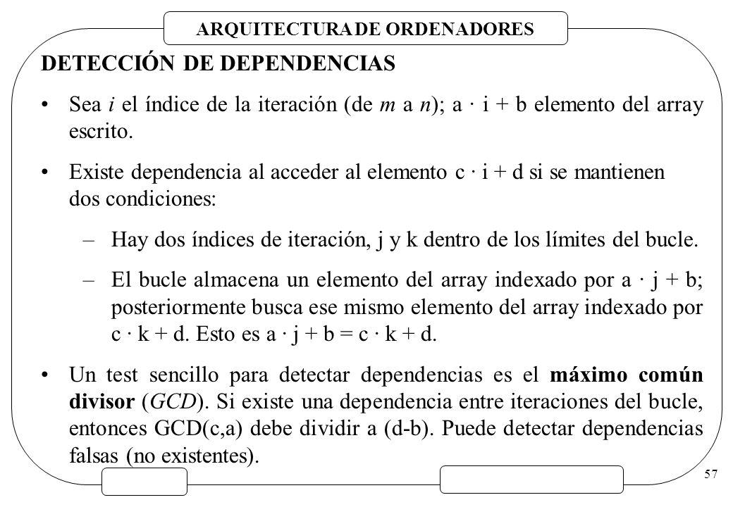 ARQUITECTURA DE ORDENADORES 57 DETECCIÓN DE DEPENDENCIAS Sea i el índice de la iteración (de m a n); a · i + b elemento del array escrito. Existe depe