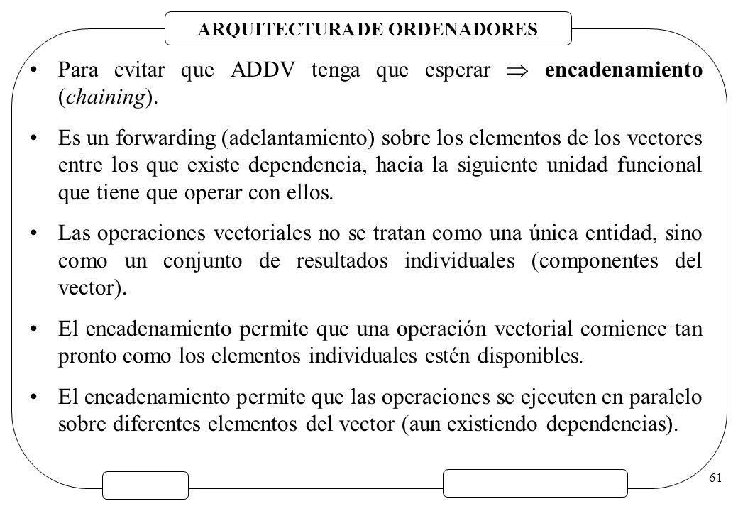 ARQUITECTURA DE ORDENADORES 61 Para evitar que ADDV tenga que esperar encadenamiento (chaining). Es un forwarding (adelantamiento) sobre los elementos