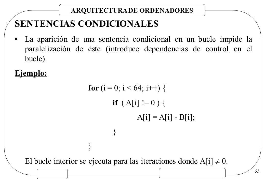 ARQUITECTURA DE ORDENADORES 63 SENTENCIAS CONDICIONALES La aparición de una sentencia condicional en un bucle impide la paralelización de éste (introd