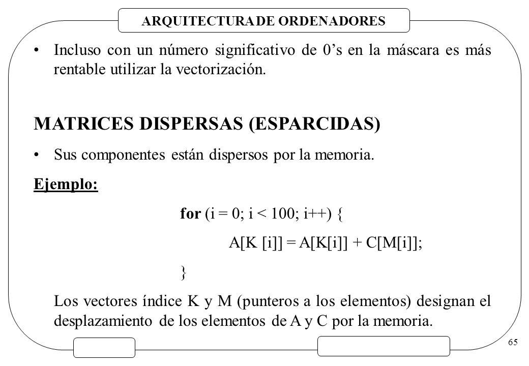 ARQUITECTURA DE ORDENADORES 65 Incluso con un número significativo de 0s en la máscara es más rentable utilizar la vectorización. MATRICES DISPERSAS (