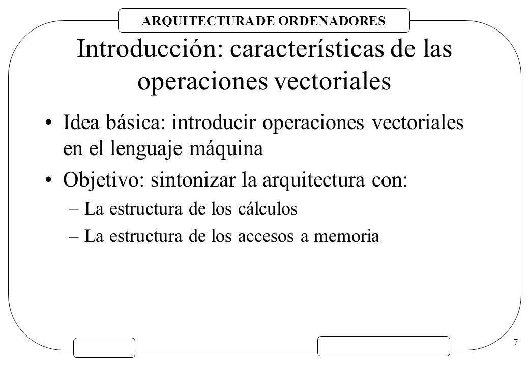 7 Introducción: características de las operaciones vectoriales Idea básica: introducir operaciones vectoriales en el lenguaje máquina Objetivo: sinton
