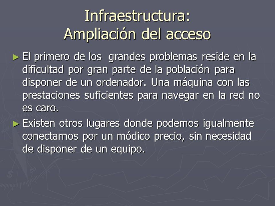 Infraestructura: Ampliación del acceso El primero de los grandes problemas reside en la dificultad por gran parte de la población para disponer de un ordenador.