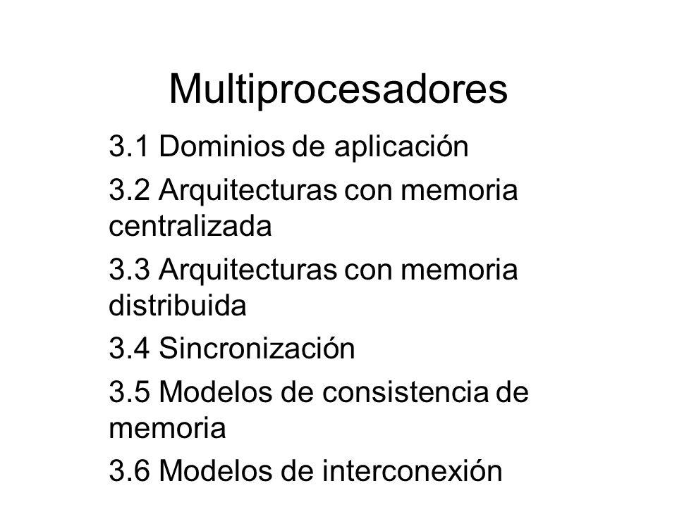 Multiprocesadores 3.1 Dominios de aplicación 3.2 Arquitecturas con memoria centralizada 3.3 Arquitecturas con memoria distribuida 3.4 Sincronización 3