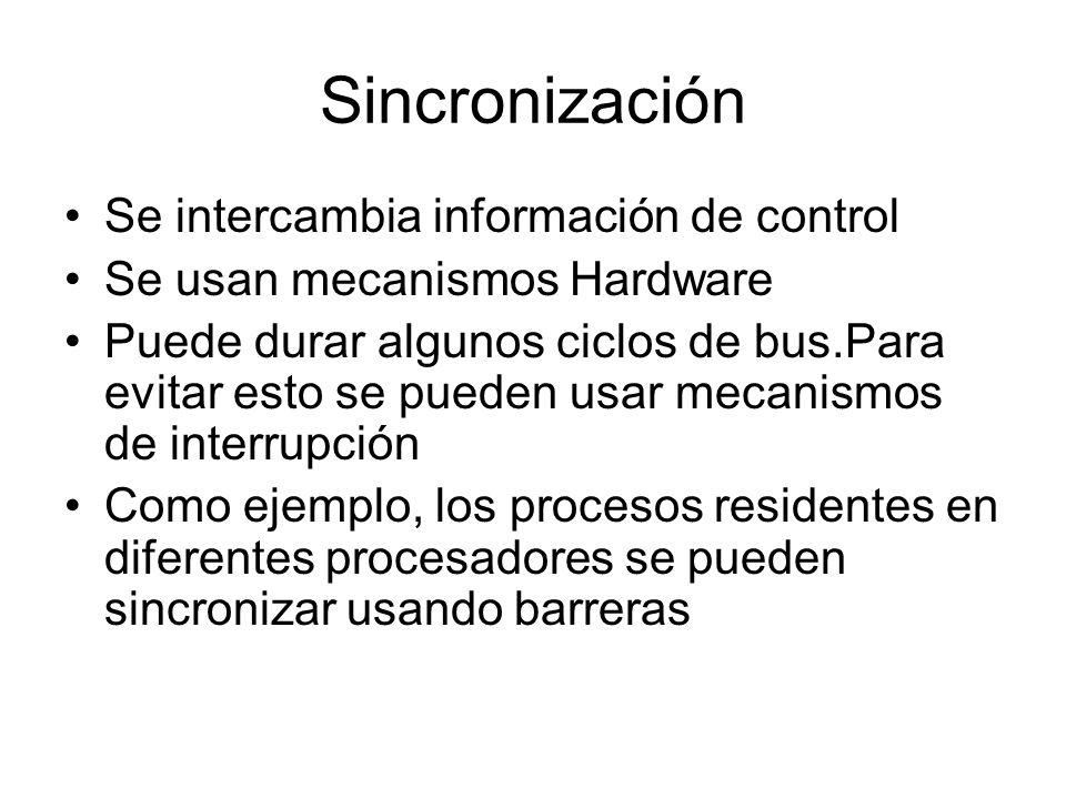 Sincronización Se intercambia información de control Se usan mecanismos Hardware Puede durar algunos ciclos de bus.Para evitar esto se pueden usar mec