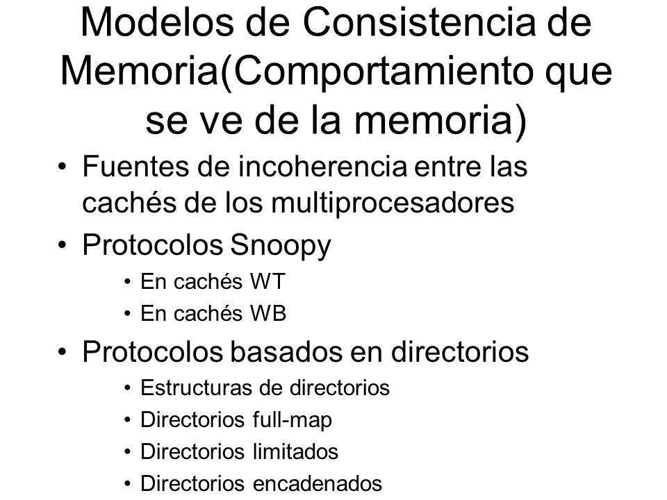 Modelos de Consistencia de Memoria(Comportamiento que se ve de la memoria) Fuentes de incoherencia entre las cachés de los multiprocesadores Protocolo