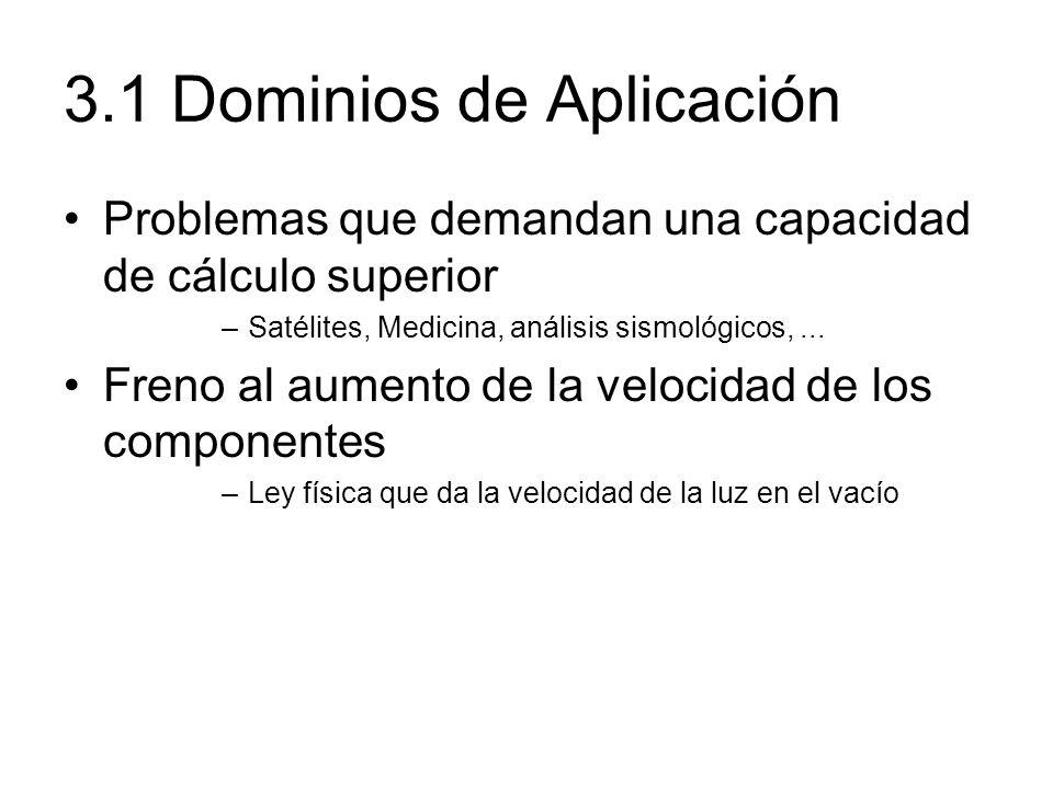 3.1 Dominios de Aplicación Problemas que demandan una capacidad de cálculo superior –Satélites, Medicina, análisis sismológicos,... Freno al aumento d