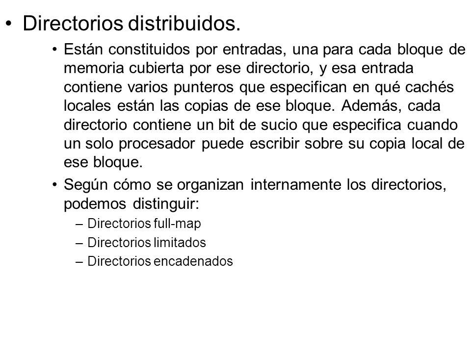 Directorios distribuidos. Están constituidos por entradas, una para cada bloque de memoria cubierta por ese directorio, y esa entrada contiene varios
