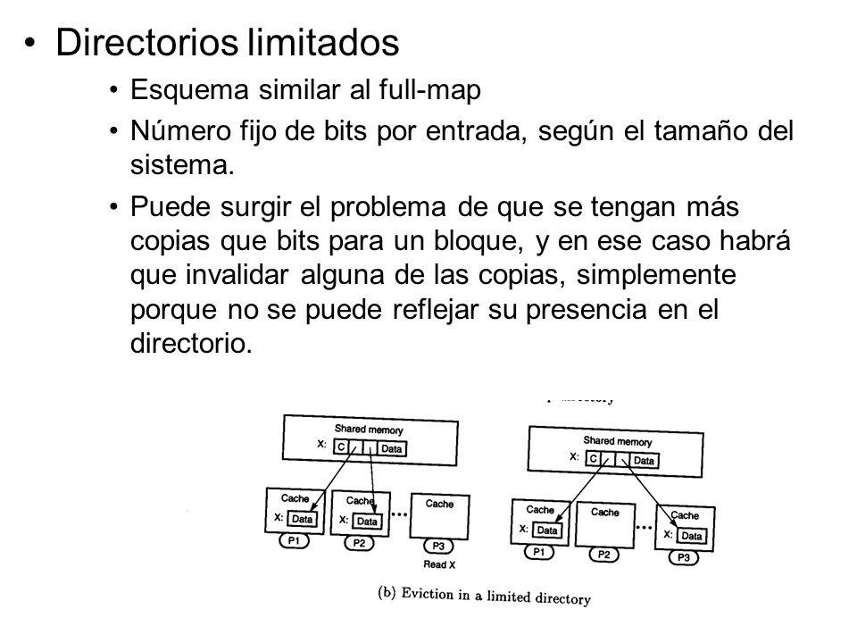 Directorios limitados Esquema similar al full-map Número fijo de bits por entrada, según el tamaño del sistema. Puede surgir el problema de que se ten