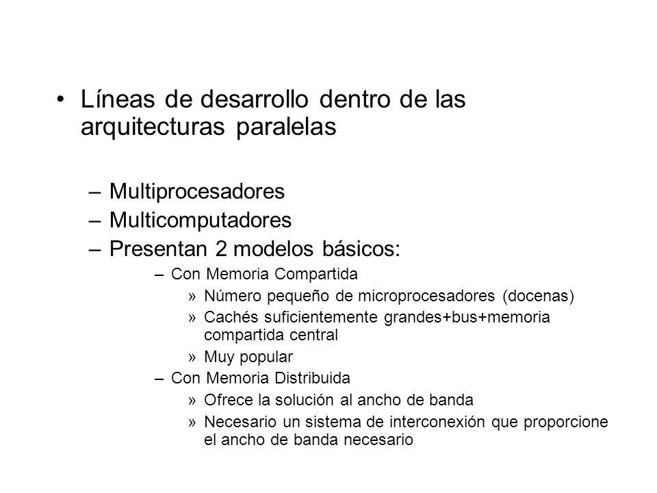 Líneas de desarrollo dentro de las arquitecturas paralelas –Multiprocesadores –Multicomputadores –Presentan 2 modelos básicos: –Con Memoria Compartida
