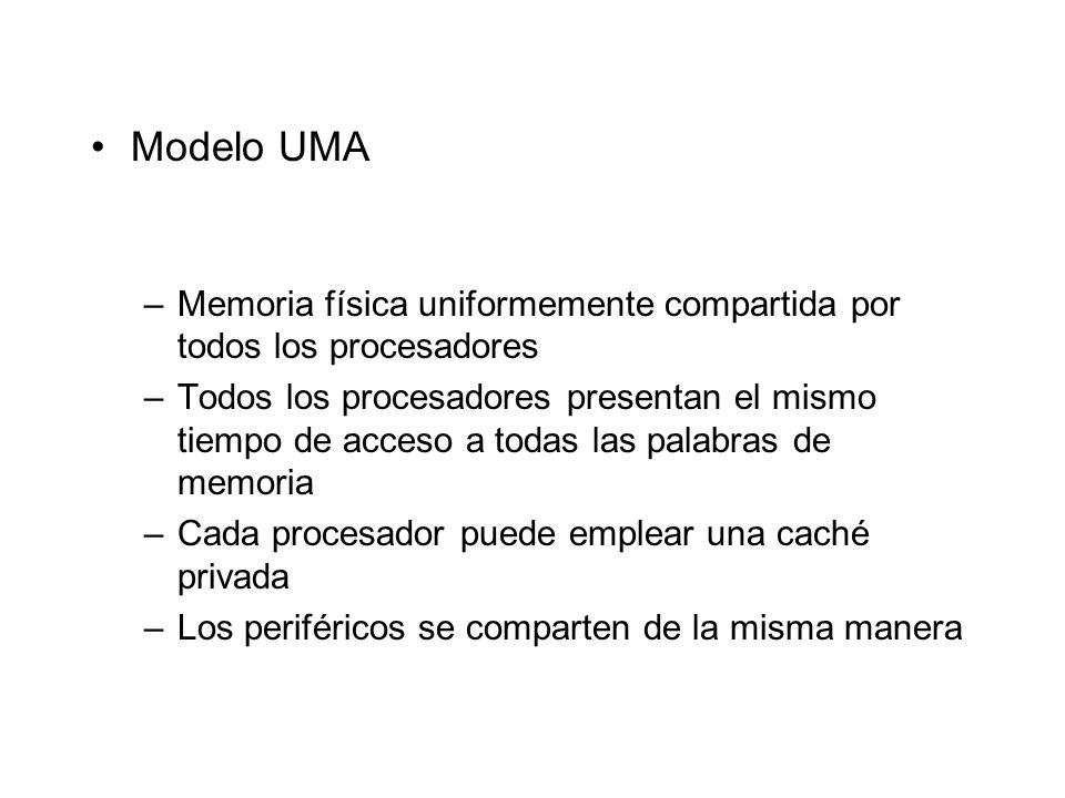 Modelo UMA –Memoria física uniformemente compartida por todos los procesadores –Todos los procesadores presentan el mismo tiempo de acceso a todas las