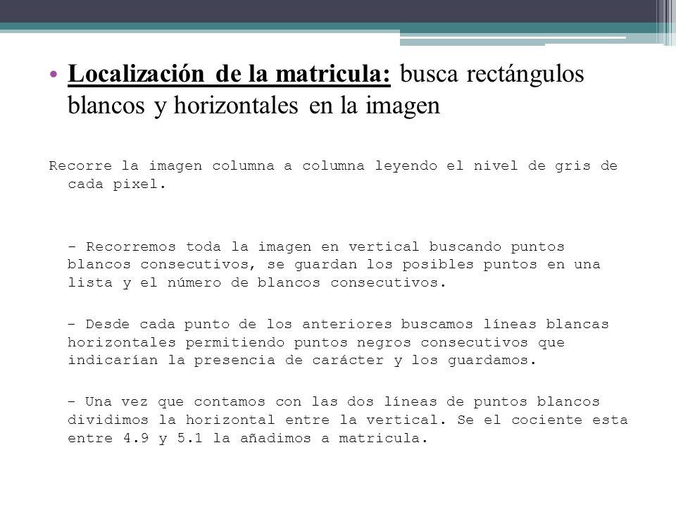Localización de la matricula: busca rectángulos blancos y horizontales en la imagen Recorre la imagen columna a columna leyendo el nivel de gris de ca