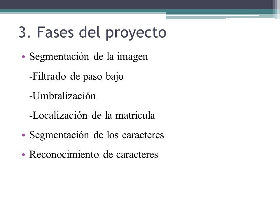3. Fases del proyecto Segmentación de la imagen -Filtrado de paso bajo -Umbralización -Localización de la matricula Segmentación de los caracteres Rec
