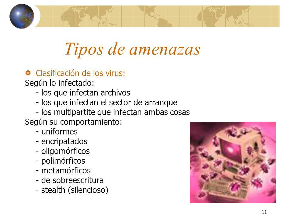 11 Tipos de amenazas Clasificación de los virus: Según lo infectado: - los que infectan archivos - los que infectan el sector de arranque - los multip