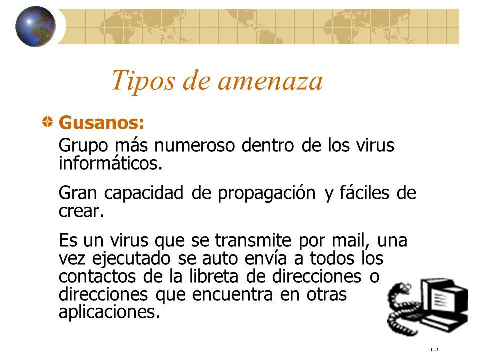 13 Tipos de amenaza Gusanos: Grupo más numeroso dentro de los virus informáticos. Gran capacidad de propagación y fáciles de crear. Es un virus que se