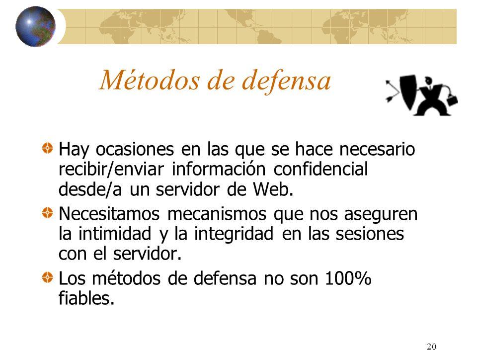 20 Métodos de defensa Hay ocasiones en las que se hace necesario recibir/enviar información confidencial desde/a un servidor de Web. Necesitamos mecan