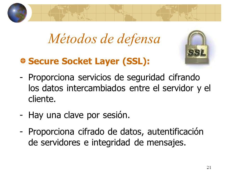21 Métodos de defensa Secure Socket Layer (SSL): -Proporciona servicios de seguridad cifrando los datos intercambiados entre el servidor y el cliente.