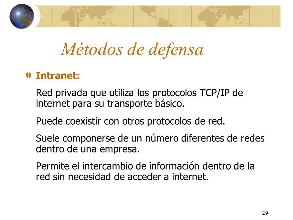 29 Métodos de defensa Intranet: Red privada que utiliza los protocolos TCP/IP de internet para su transporte básico. Puede coexistir con otros protoco