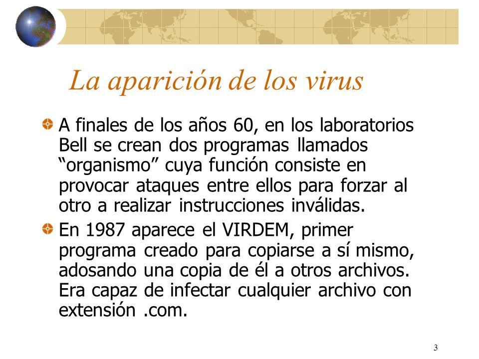 3 La aparición de los virus A finales de los años 60, en los laboratorios Bell se crean dos programas llamados organismo cuya función consiste en prov