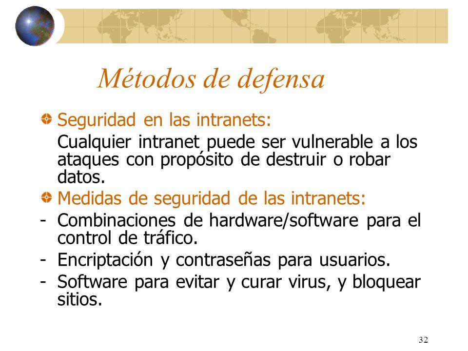 32 Métodos de defensa Seguridad en las intranets: Cualquier intranet puede ser vulnerable a los ataques con propósito de destruir o robar datos. Medid