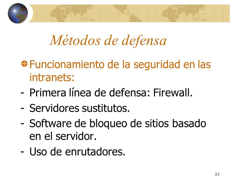 33 Métodos de defensa Funcionamiento de la seguridad en las intranets: -Primera línea de defensa: Firewall. -Servidores sustitutos. -Software de bloqu