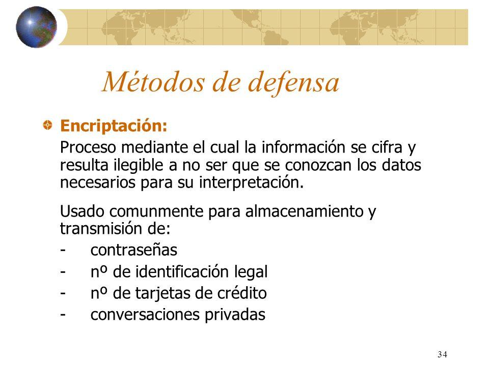 34 Métodos de defensa Encriptación: Proceso mediante el cual la información se cifra y resulta ilegible a no ser que se conozcan los datos necesarios