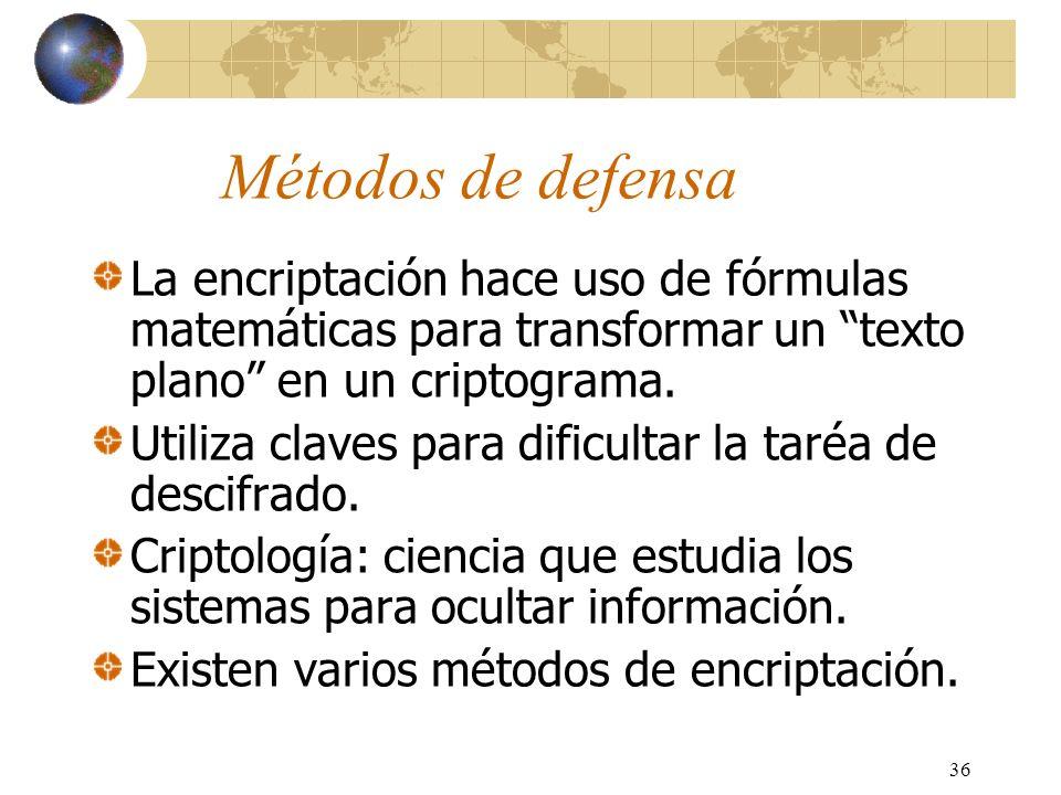 36 Métodos de defensa La encriptación hace uso de fórmulas matemáticas para transformar un texto plano en un criptograma. Utiliza claves para dificult