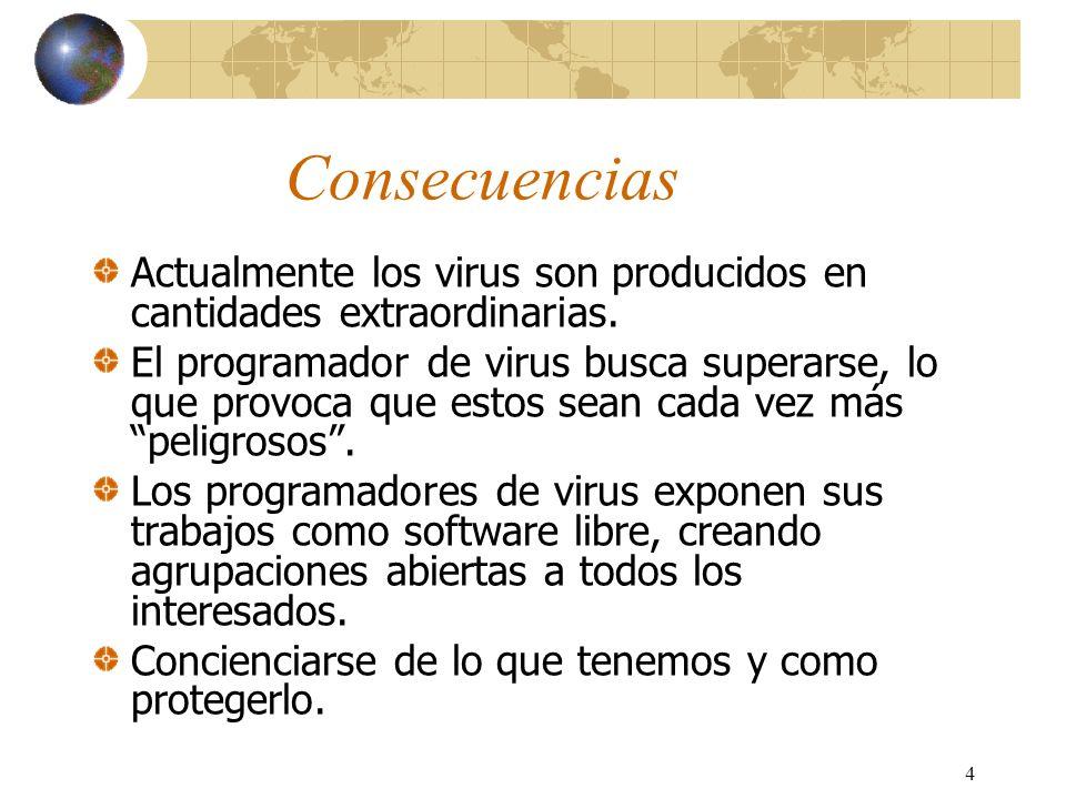 4 Consecuencias Actualmente los virus son producidos en cantidades extraordinarias. El programador de virus busca superarse, lo que provoca que estos