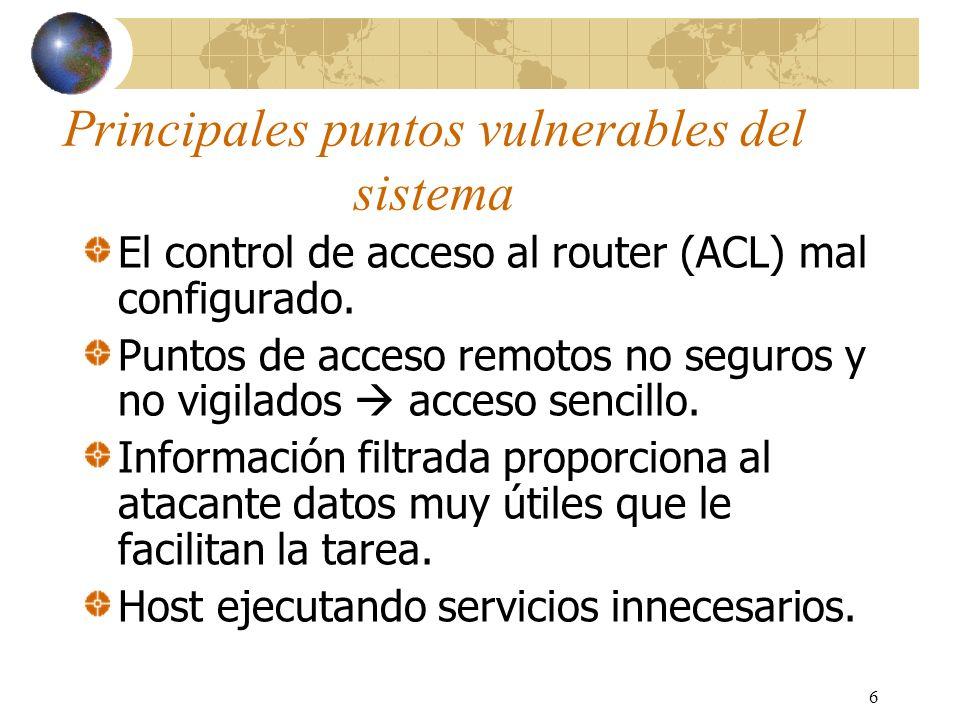 6 Principales puntos vulnerables del sistema El control de acceso al router (ACL) mal configurado. Puntos de acceso remotos no seguros y no vigilados