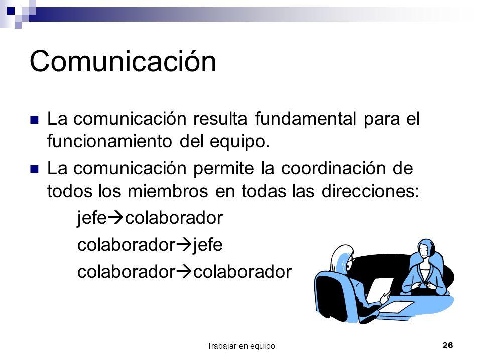 Trabajar en equipo26 Comunicación La comunicación resulta fundamental para el funcionamiento del equipo. La comunicación permite la coordinación de to