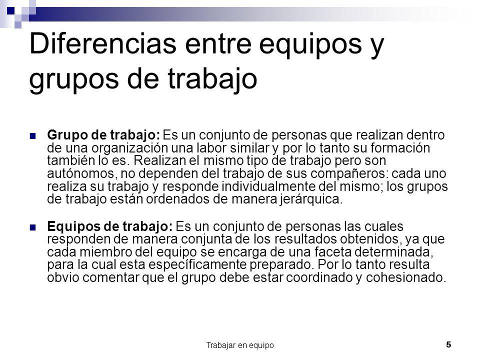Trabajar en equipo5 Diferencias entre equipos y grupos de trabajo Grupo de trabajo: Es un conjunto de personas que realizan dentro de una organización