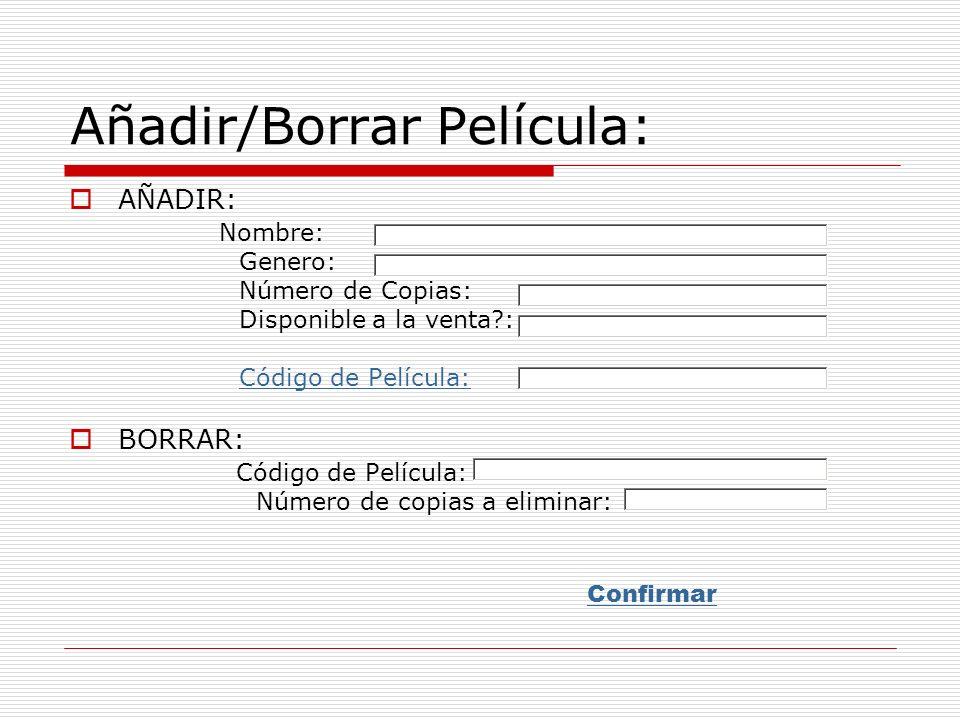 Información Película: Código: Nombre: Género: Descripción: Número de copias totales: Número de copias disponibles: Vendible.