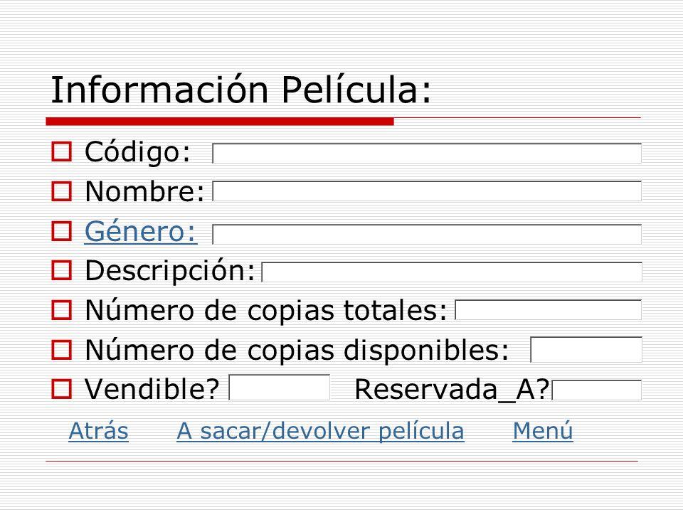 Información Película: Código: Nombre: Género: Descripción: Número de copias totales: Número de copias disponibles: Vendible? Reservada_A?: Atrás A sac