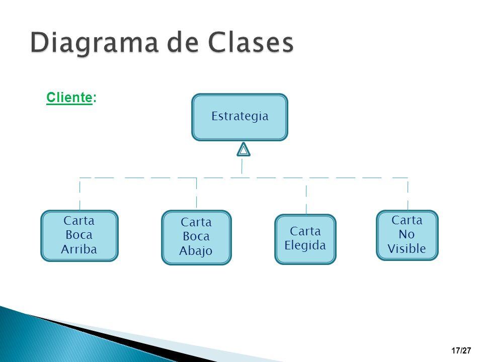 Cliente: Estrategia Carta Boca Arriba Carta Boca Abajo Carta Elegida Carta No Visible 17/27