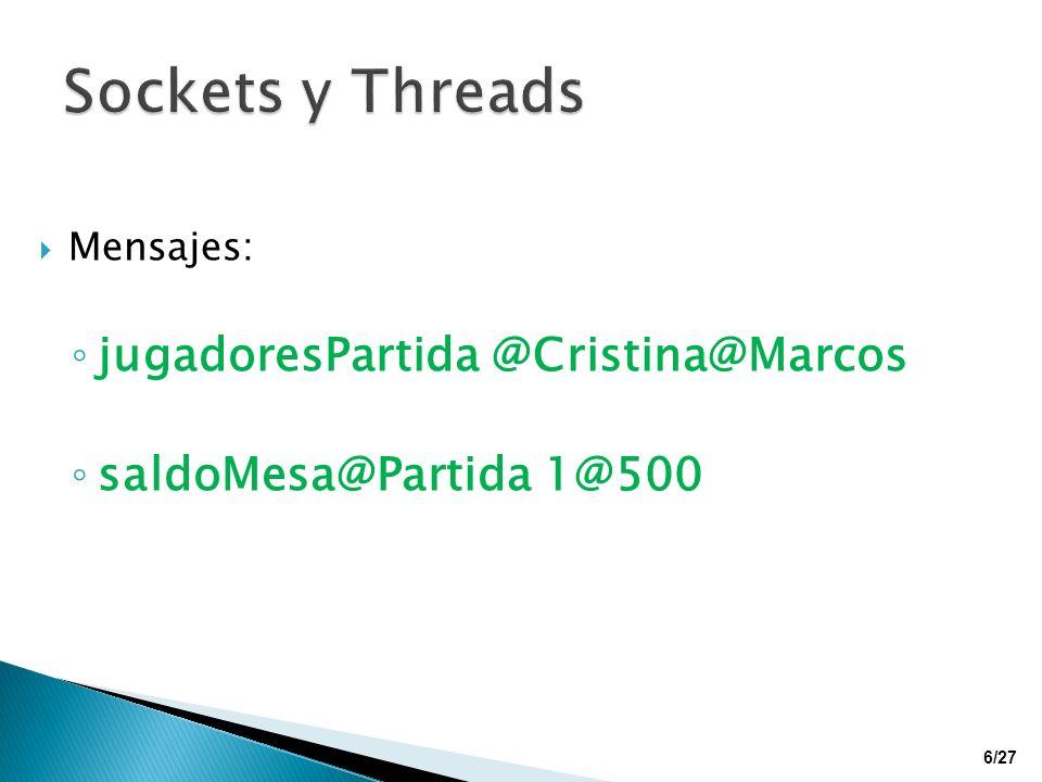 Mensajes: jugadoresPartida @Cristina@Marcos saldoMesa@Partida 1@500 6/27