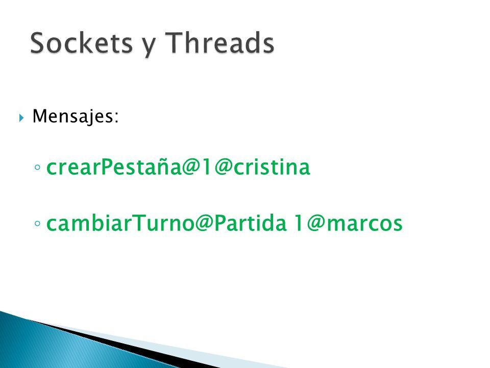 Mensajes: crearPestaña@1@cristina cambiarTurno@Partida 1@marcos
