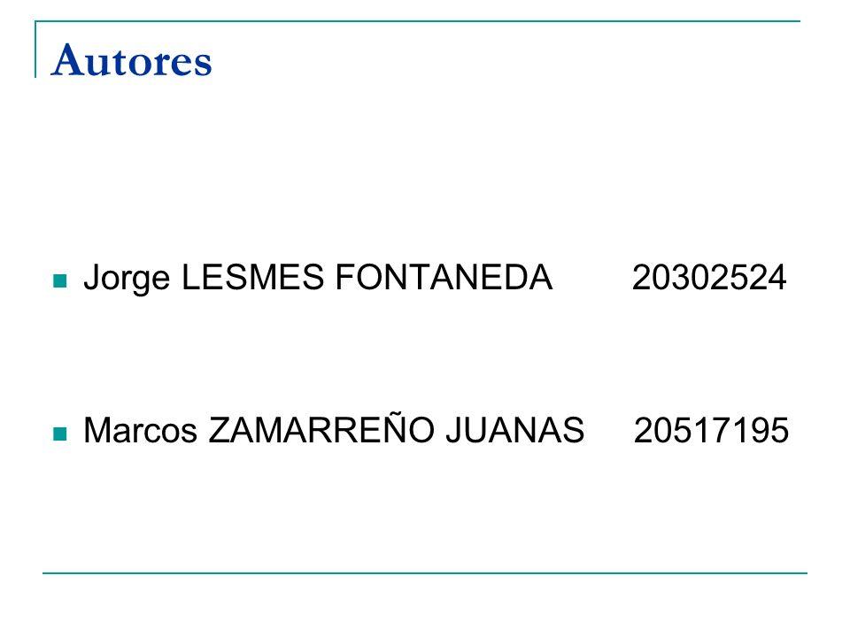 Autores Jorge LESMES FONTANEDA 20302524 Marcos ZAMARREÑO JUANAS 20517195