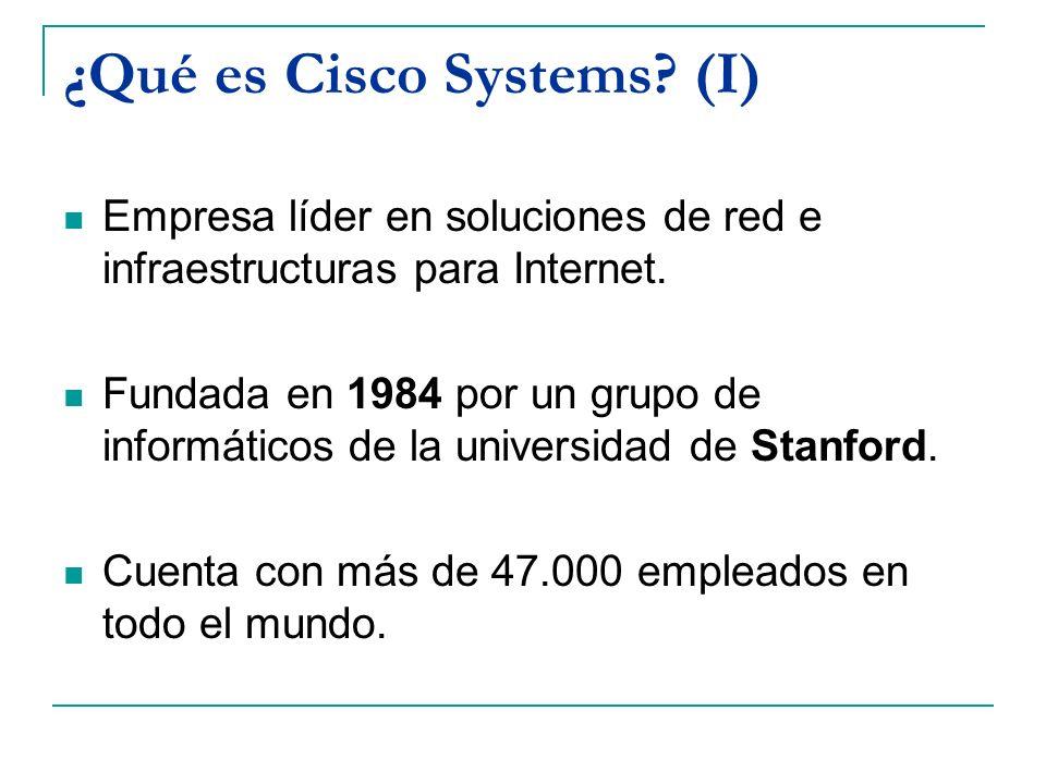 ¿Qué es Cisco Systems? (I) Empresa líder en soluciones de red e infraestructuras para Internet. Fundada en 1984 por un grupo de informáticos de la uni