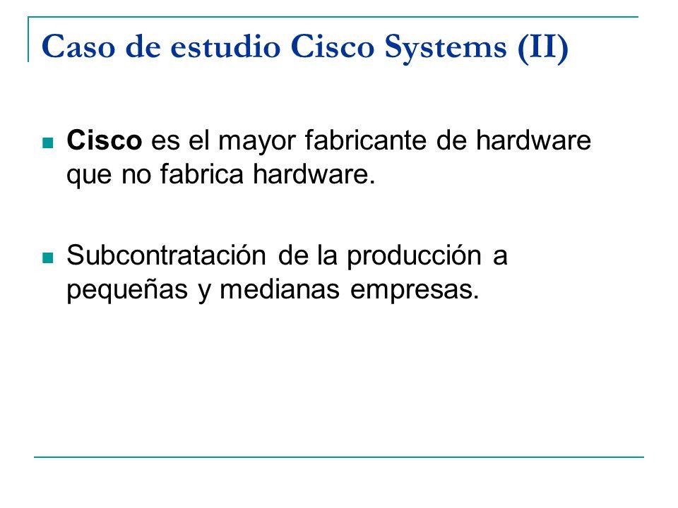 Caso de estudio Cisco Systems (II) Cisco es el mayor fabricante de hardware que no fabrica hardware. Subcontratación de la producción a pequeñas y med