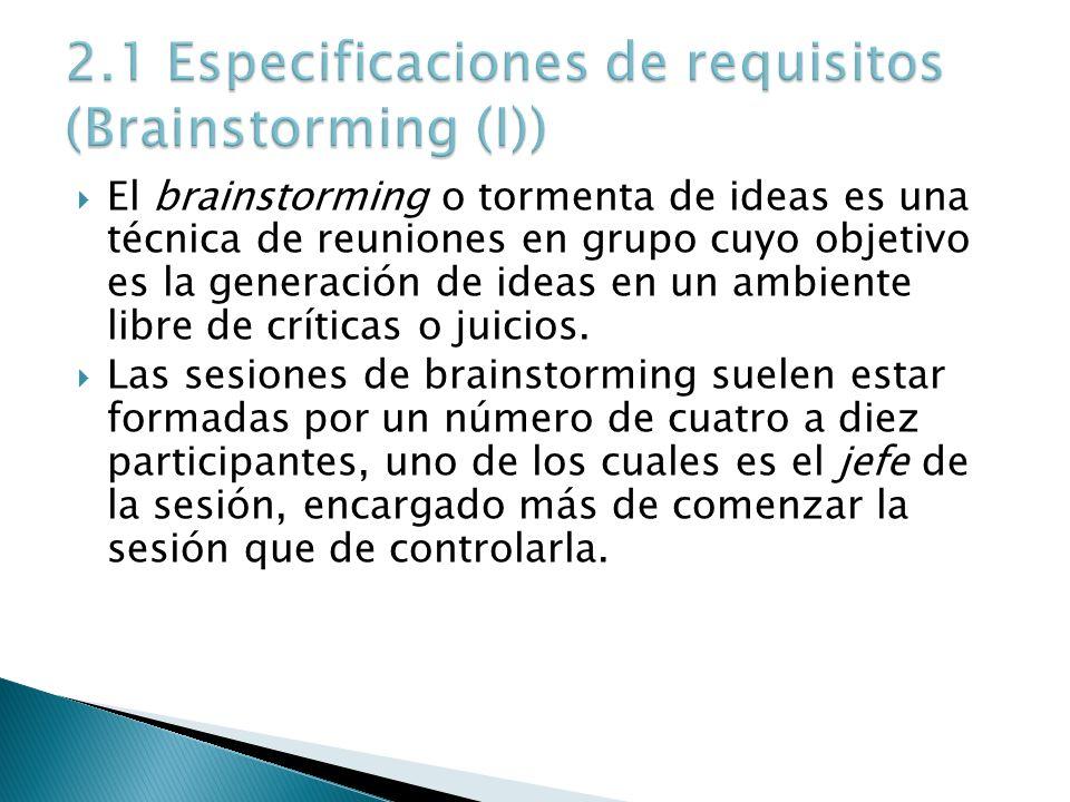 El brainstorming o tormenta de ideas es una técnica de reuniones en grupo cuyo objetivo es la generación de ideas en un ambiente libre de críticas o j